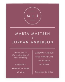 Marvelous Monogram Rectangle Invitations