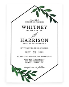 Wispy Greenery Rectangle Invitations