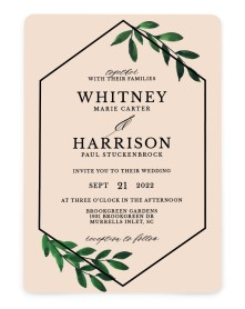 Wispy Greenery Rounded Invitations