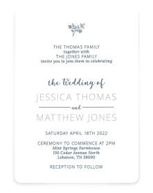 Cool Blooms Rounded Invitations