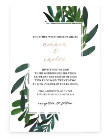 Painted Greens Rectangle Invitations