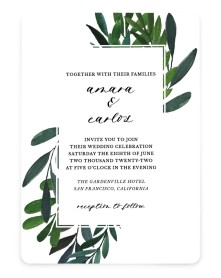 Painted Greens Rounded Invitations