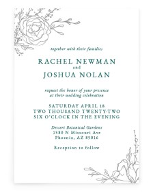 Blooming Rose Rectangle Invitations