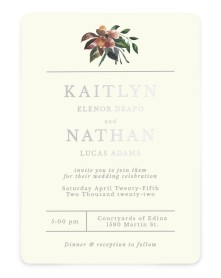 Golden Blooms Rounded Invitations