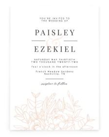Floral Outline Rectangle Invitations