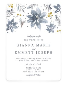 Winter Floral Rounded Invitations