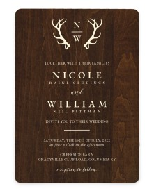 Rustic Antler Rounded Invitations