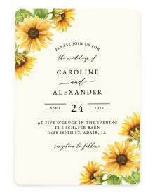 Sunflower Bliss Rounded Invitations