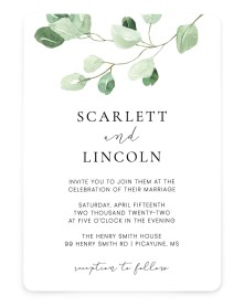 Sweet Greenery Rounded Invitations