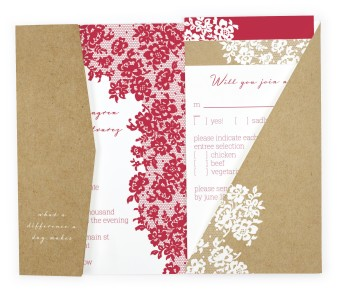 Floral Lace Pocket Invitations