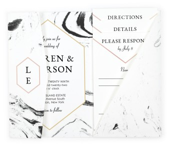 Elegant Marble Pocket Invitations