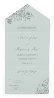 Golden Blooms All-in-One Wedding Invitations