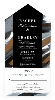 Moody Swashes All-in-One Wedding Invitations