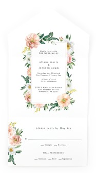 Delicate Florals All-in-One Wedding Invitations