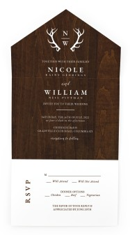 Rustic Antler All-in-One Wedding Invitations
