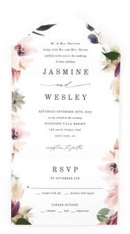 Natural Floral All-in-One Wedding Invitations