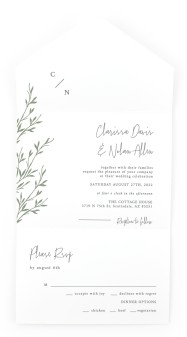 Bright Greens All-in-One Wedding Invitations