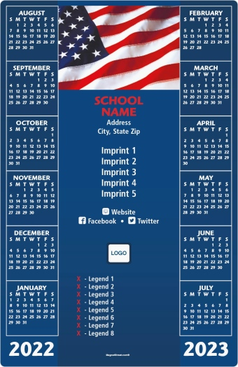 Flag Background School Calendar Magnets