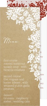 Floral Lace Wedding Menu Cards