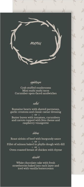 Rustic Boughs Wedding Menu Cards