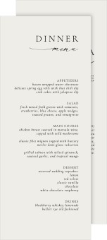 Simply Elegant Wedding Menu Cards