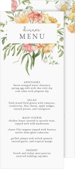 Secluded Blooms Wedding Menu Cards