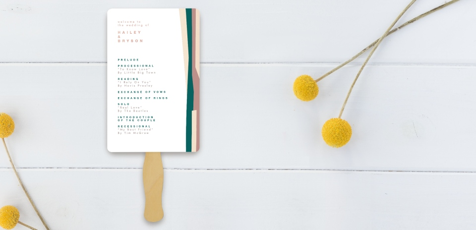 Wedding Program Fan Front