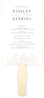 Floral Outline Wedding Program Fans