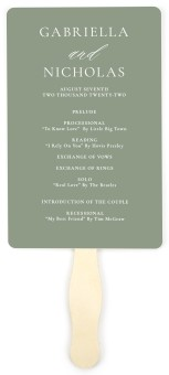 Minimalist Type Wedding Program Fans