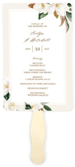 Soft Magnolia Wedding Program Fans