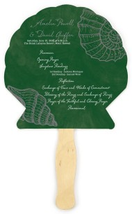 Seashell Chalkboard Wedding Program Fans