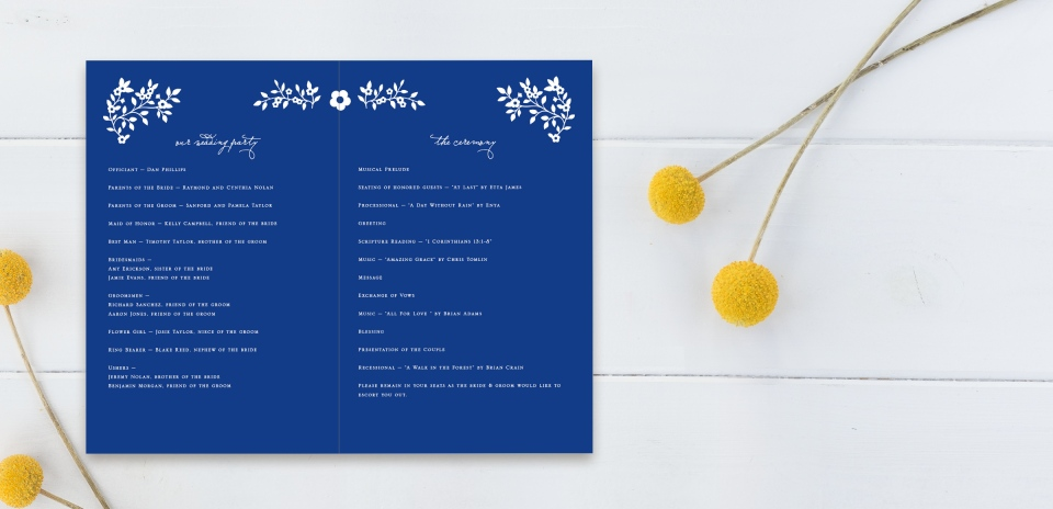 Wedding Program Open