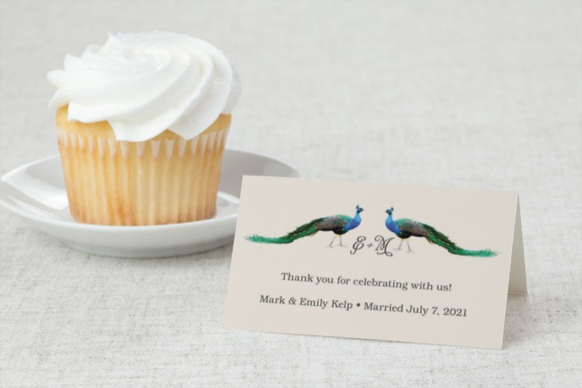 Rustic Peacock Wedding Place Cards