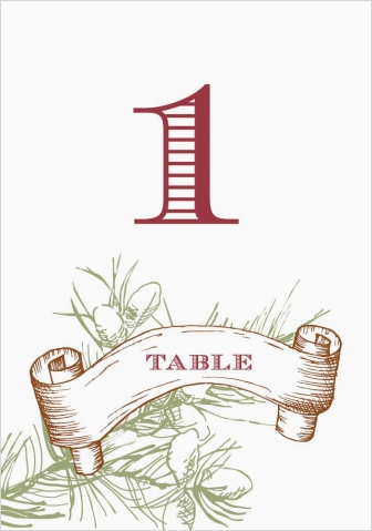 Evergreen Christmas Wedding Table Numbers