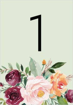 Country Florals Wedding Table Numbers