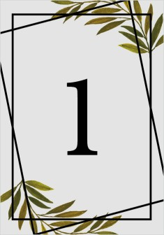 Gilded Sage Wedding Table Numbers