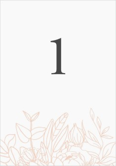 Floral Outline Wedding Table Numbers