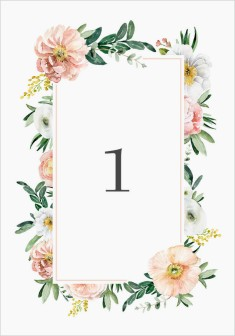 Delicate Florals Wedding Table Numbers