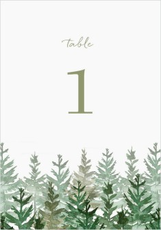 Ethereal Evergreens Wedding Table Numbers