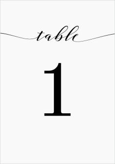 Classy Type Wedding Table Numbers