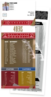 49ers + Stanford University + University of California Football Schedule Magnets