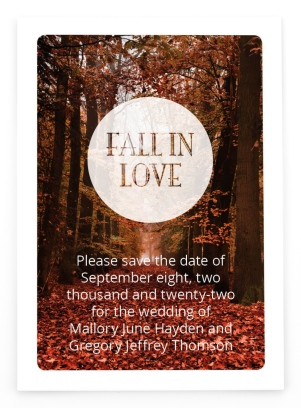 Fall in Love Save the Date Postcards