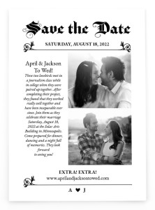 Extra! Extra! Save the Date Postcards