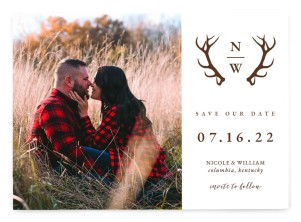 Rustic Antler Save the Date Postcards