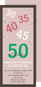 50 and Fabulous Birthday Party Invitations