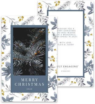 Christmas Floral Christmas Card Inserts