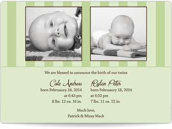 Twins - Stripes Birth Announcement Magnets