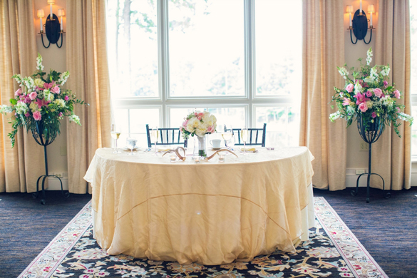 sweetheart table at Country Club wedding