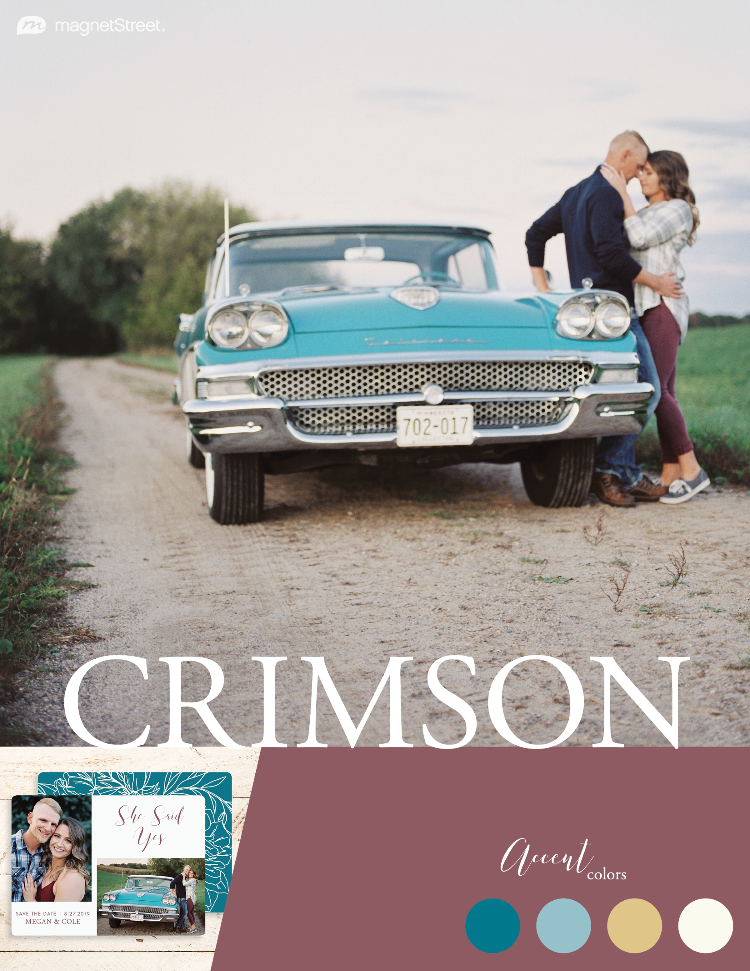 Romantic Vintage Car Engagement Session At Sunset