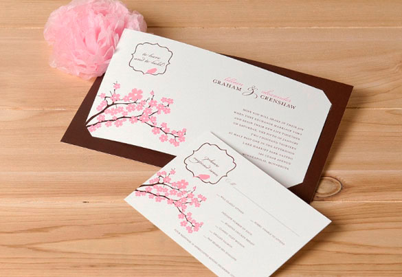 Flat Tea Length Wedding Invitation